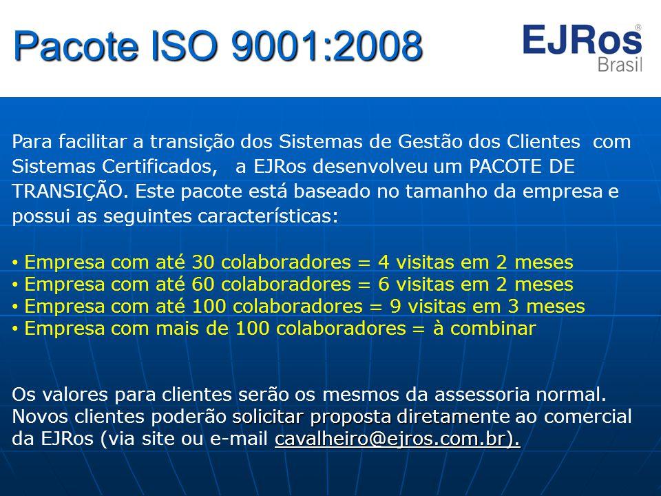 Pacote ISO 9001:2008 Para facilitar a transição dos Sistemas de Gestão dos Clientes com Sistemas Certificados, a EJRos desenvolveu um PACOTE DE TRANSI