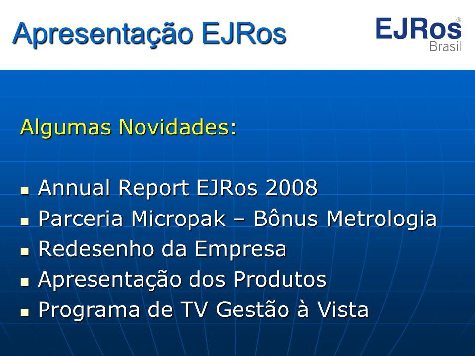 Apresentação EJRos Algumas Novidades: Annual Report EJRos 2008 Annual Report EJRos 2008 Parceria Micropak – Bônus Metrologia Parceria Micropak – Bônus
