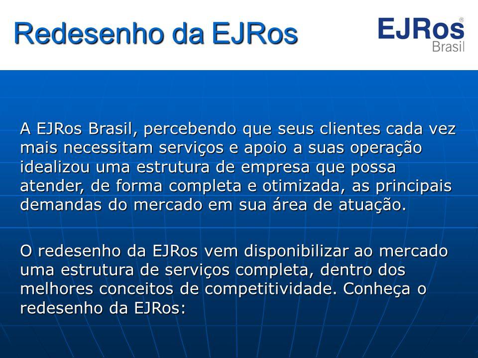 Redesenho da EJRos A EJRos Brasil, percebendo que seus clientes cada vez mais necessitam serviços e apoio a suas operação idealizou uma estrutura de e