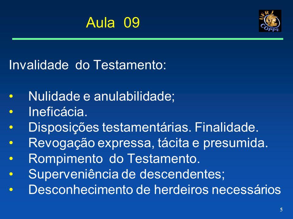 5 Aula 09 Invalidade do Testamento: Nulidade e anulabilidade; Ineficácia.
