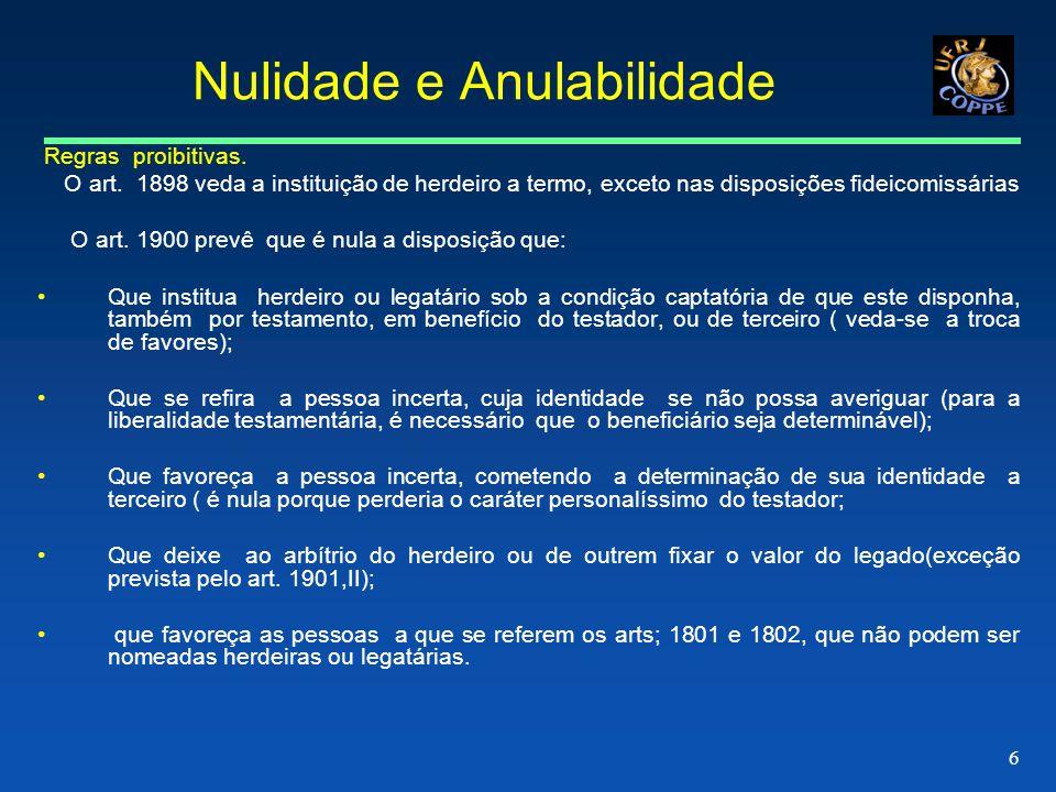 6 Nulidade e Anulabilidade Regras proibitivas.O art.