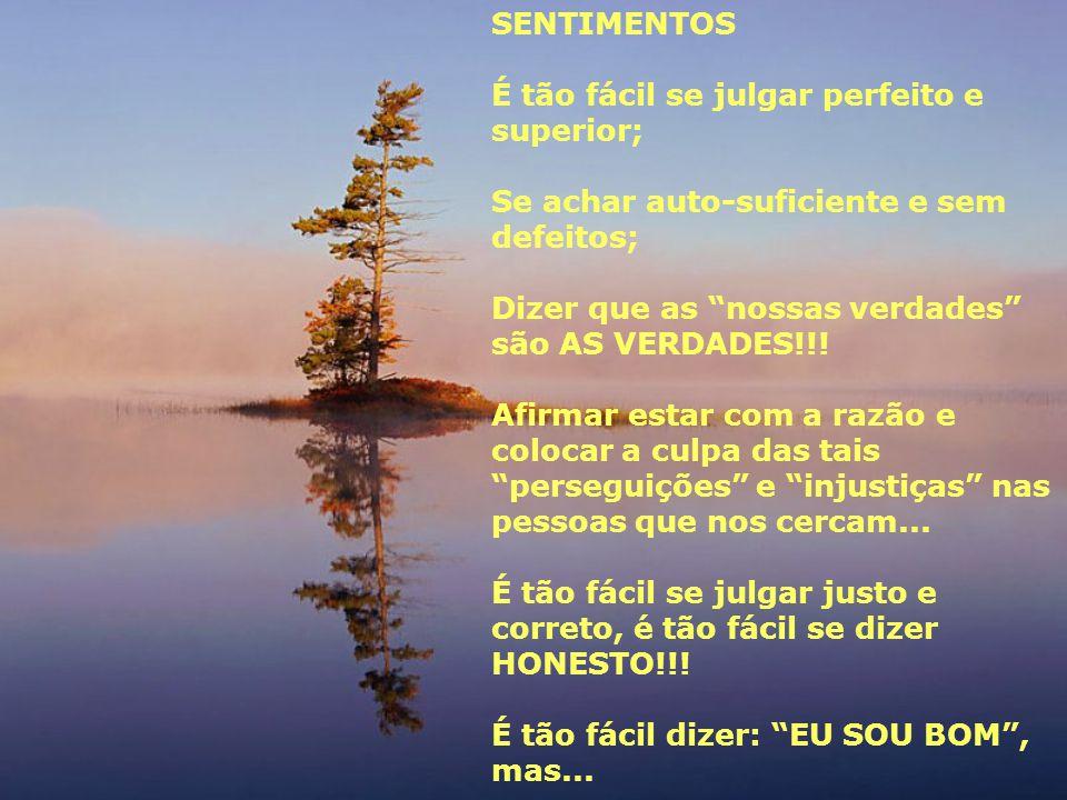 """SENTIMENTOS É tão fácil se julgar perfeito e superior; Se achar auto-suficiente e sem defeitos; Dizer que as """"nossas verdades"""" são AS VERDADES!!! Afir"""