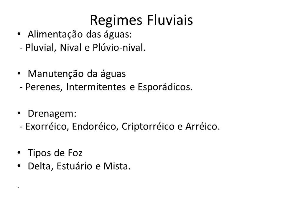 Regimes Fluviais Alimentação das águas: - Pluvial, Nival e Plúvio-nival. Manutenção da águas - Perenes, Intermitentes e Esporádicos. Drenagem: - Exorr