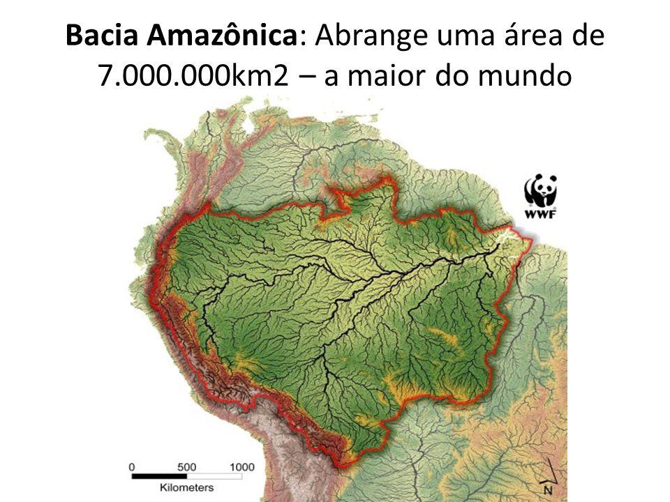 Bacia Amazônica: Abrange uma área de 7.000.000km2 – a maior do mund o