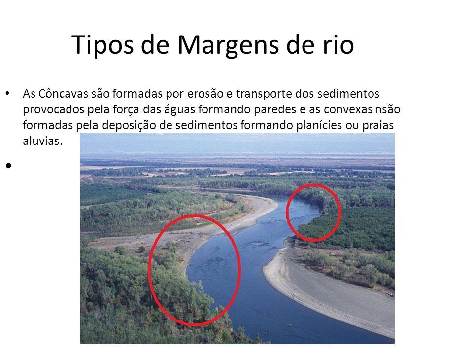 Tipos de Margens de rio As Côncavas são formadas por erosão e transporte dos sedimentos provocados pela força das águas formando paredes e as convexas