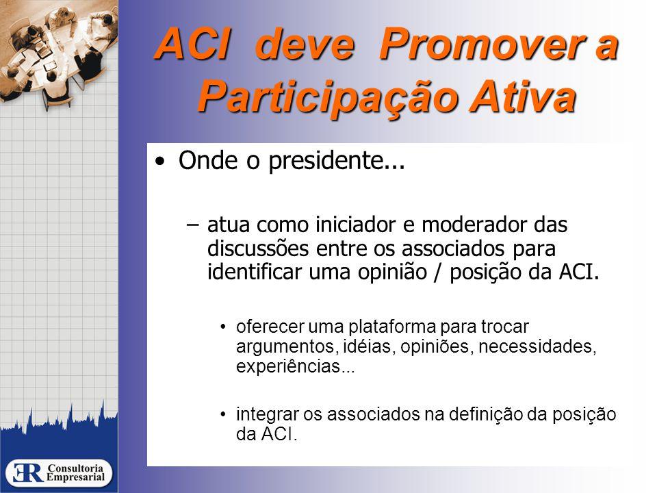 ACI deve Promover a Participação Ativa Onde o presidente... –atua como iniciador e moderador das discussões entre os associados para identificar uma o
