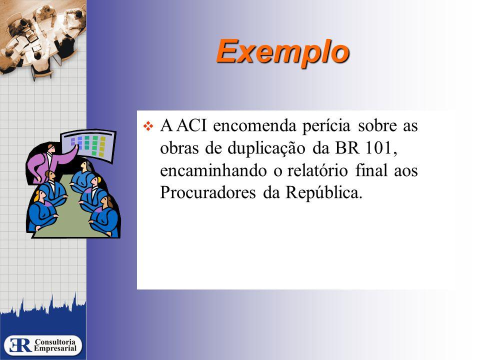 Exemplo  A ACI encomenda perícia sobre as obras de duplicação da BR 101, encaminhando o relatório final aos Procuradores da República.
