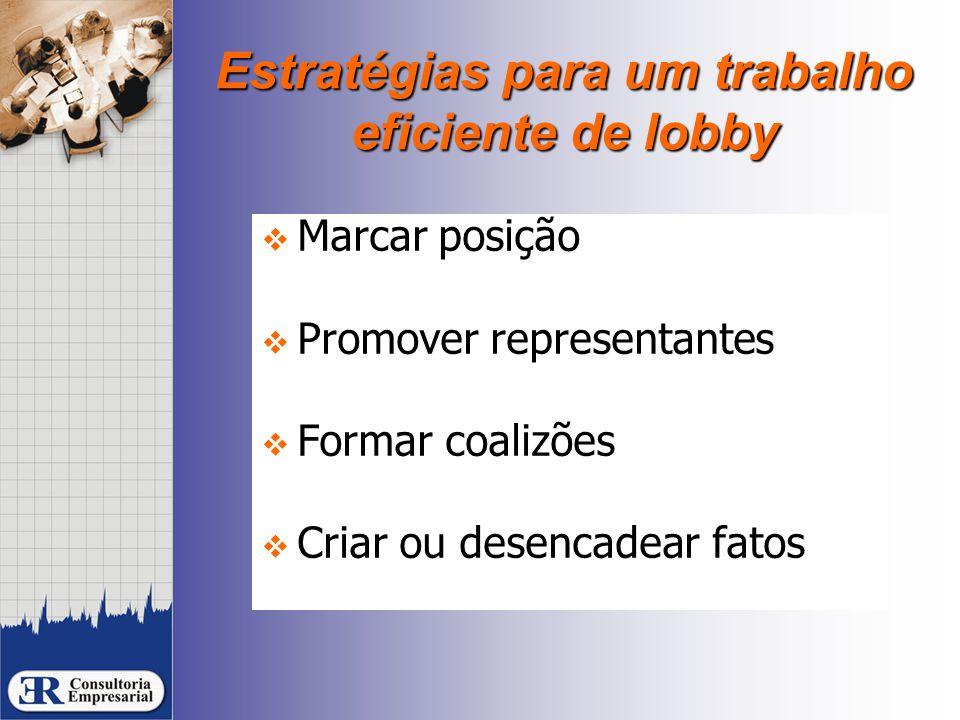Estratégias para um trabalho eficiente de lobby  Marcar posição  Promover representantes  Formar coalizões  Criar ou desencadear fatos