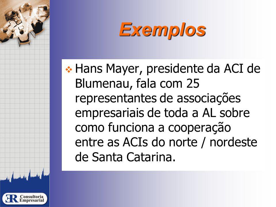 Exemplos  Hans Mayer, presidente da ACI de Blumenau, fala com 25 representantes de associações empresariais de toda a AL sobre como funciona a cooperação entre as ACIs do norte / nordeste de Santa Catarina.