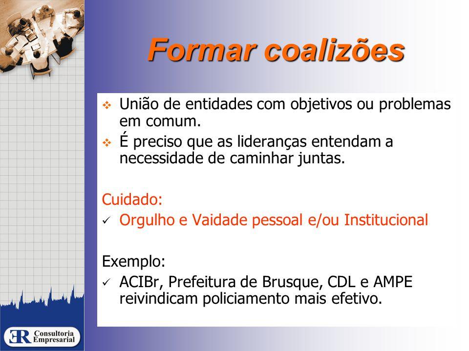 Formar coalizões  União de entidades com objetivos ou problemas em comum.