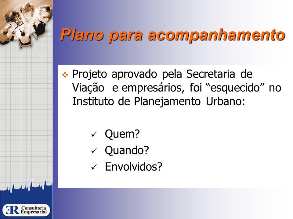 """Plano para acompanhamento  Projeto aprovado pela Secretaria de Viação e empresários, foi """"esquecido"""" no Instituto de Planejamento Urbano: Quem? Quand"""