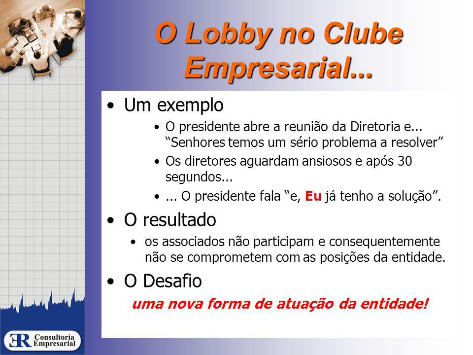 """O Lobby no Clube Empresarial... Um exemplo O presidente abre a reunião da Diretoria e... """"Senhores temos um sério problema a resolver"""" Os diretores ag"""