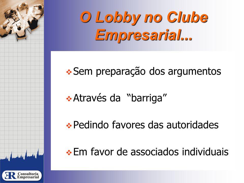 """O Lobby no Clube Empresarial...  Sem preparação dos argumentos  Através da """"barriga""""  Pedindo favores das autoridades  Em favor de associados indi"""