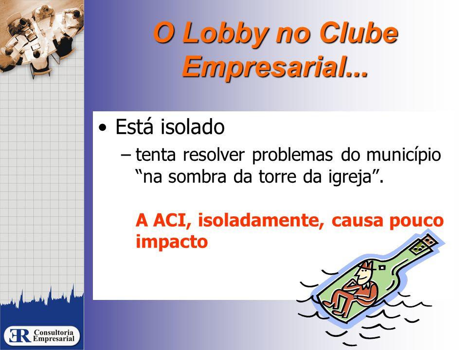 """O Lobby no Clube Empresarial... Está isolado –tenta resolver problemas do município """"na sombra da torre da igreja"""". A ACI, isoladamente, causa pouco i"""
