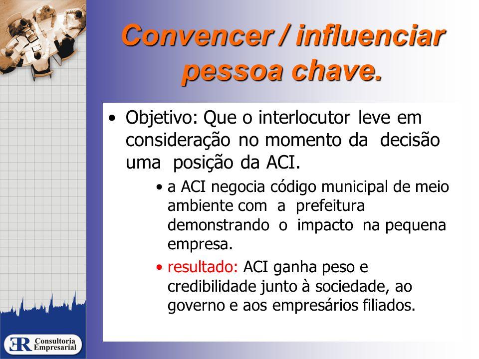 Convencer / influenciar pessoa chave. Objetivo:Que o interlocutor leve em consideração no momento da decisão uma posição da ACI. a ACI negocia código