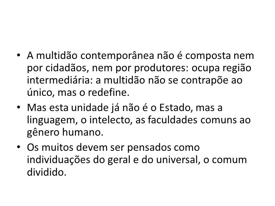A multidão contemporânea não é composta nem por cidadãos, nem por produtores: ocupa região intermediária: a multidão não se contrapõe ao único, mas o redefine.