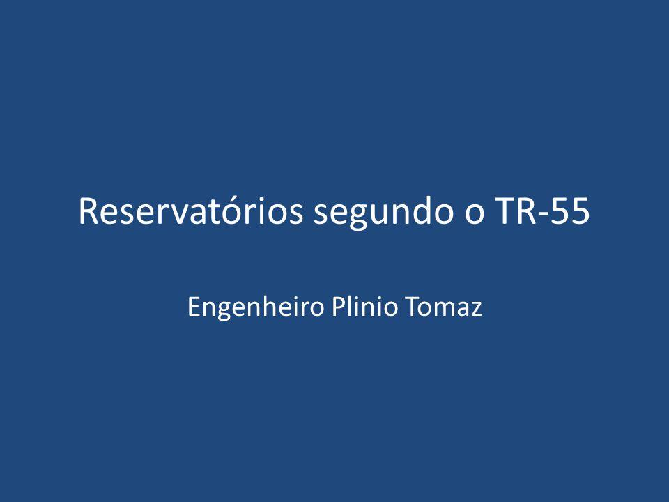 Teoria SCS TR-55 Até 65km 2 Chuva de duração de 24h Hietograma: Tipo I,Ia, II e III São Paulo: adotar Tipo II (mais usado) Vazão de pré-desenvolvimento Vazão de pós-desenvolvimento