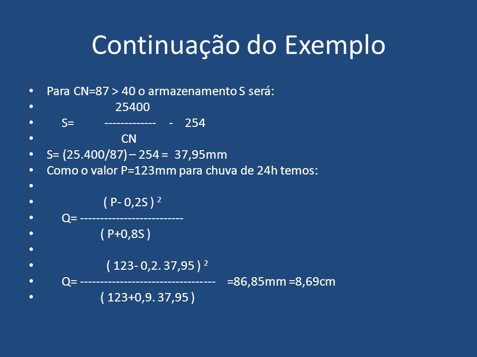 Continuação do Exemplo Para CN=87 > 40 o armazenamento S será: 25400 S= ------------- - 254 CN S= (25.400/87) – 254 = 37,95mm Como o valor P=123mm par