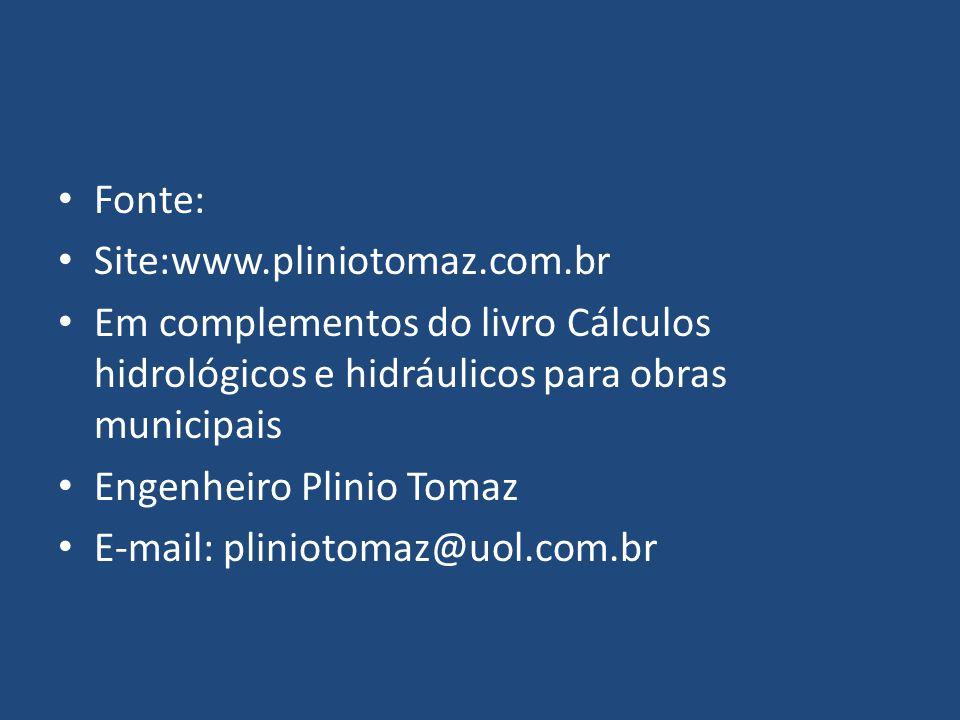 Fonte: Site:www.pliniotomaz.com.br Em complementos do livro Cálculos hidrológicos e hidráulicos para obras municipais Engenheiro Plinio Tomaz E-mail: