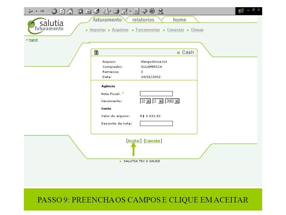 PASSO 9: PREENCHA OS CAMPOS E CLIQUE EM ACEITAR