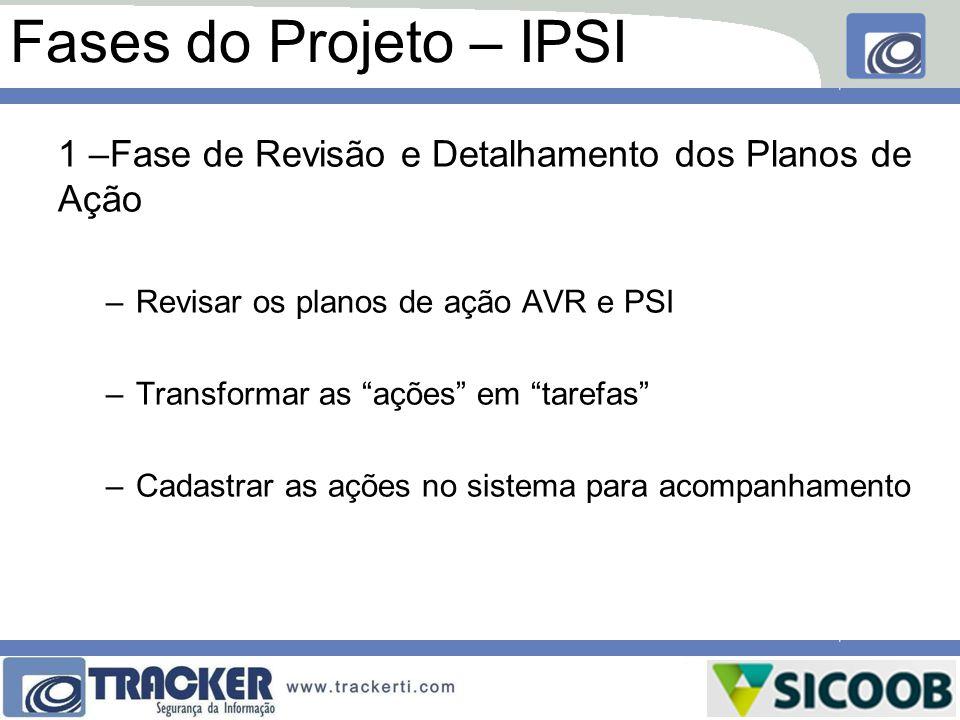 """Fases do Projeto – IPSI 1 –Fase de Revisão e Detalhamento dos Planos de Ação –Revisar os planos de ação AVR e PSI –Transformar as """"ações"""" em """"tarefas"""""""