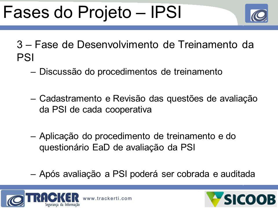 Fases do Projeto – IPSI 3 – Fase de Desenvolvimento de Treinamento da PSI –Discussão do procedimentos de treinamento –Cadastramento e Revisão das ques