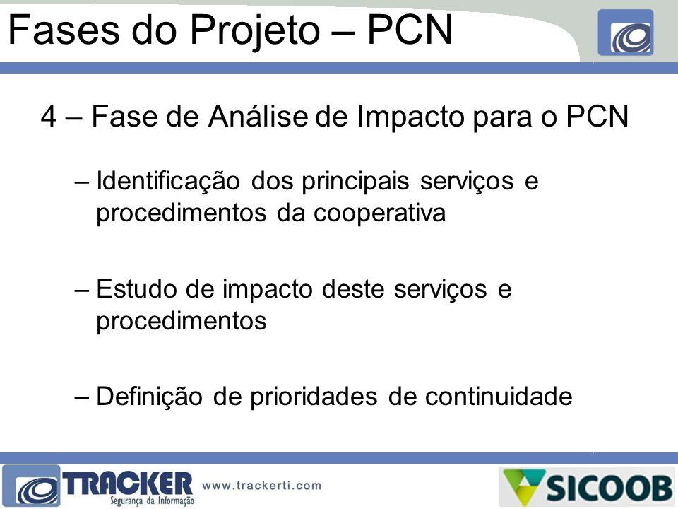 Fases do Projeto – PCN 4 – Fase de Análise de Impacto para o PCN –Identificação dos principais serviços e procedimentos da cooperativa –Estudo de impa