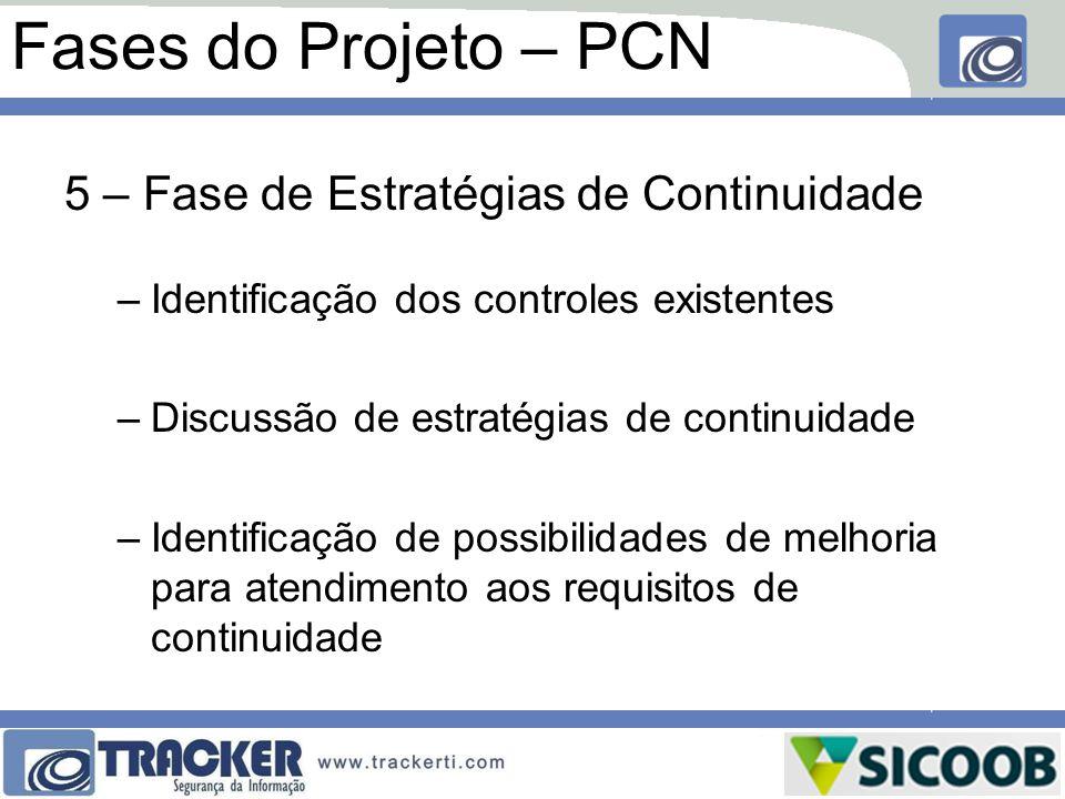 Fases do Projeto – PCN 5 – Fase de Estratégias de Continuidade –Identificação dos controles existentes –Discussão de estratégias de continuidade –Iden