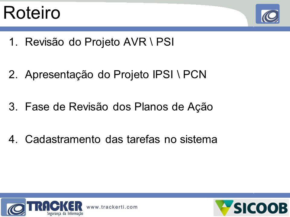 Roteiro 1.Revisão do Projeto AVR \ PSI 2.Apresentação do Projeto IPSI \ PCN 3.Fase de Revisão dos Planos de Ação 4.Cadastramento das tarefas no sistem