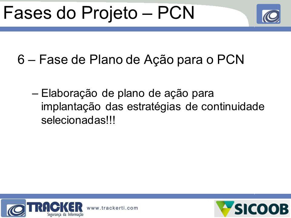 Fases do Projeto – PCN 6 – Fase de Plano de Ação para o PCN –Elaboração de plano de ação para implantação das estratégias de continuidade selecionadas