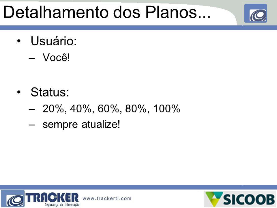 Detalhamento dos Planos... Usuário: –Você! Status: –20%, 40%, 60%, 80%, 100% –sempre atualize!