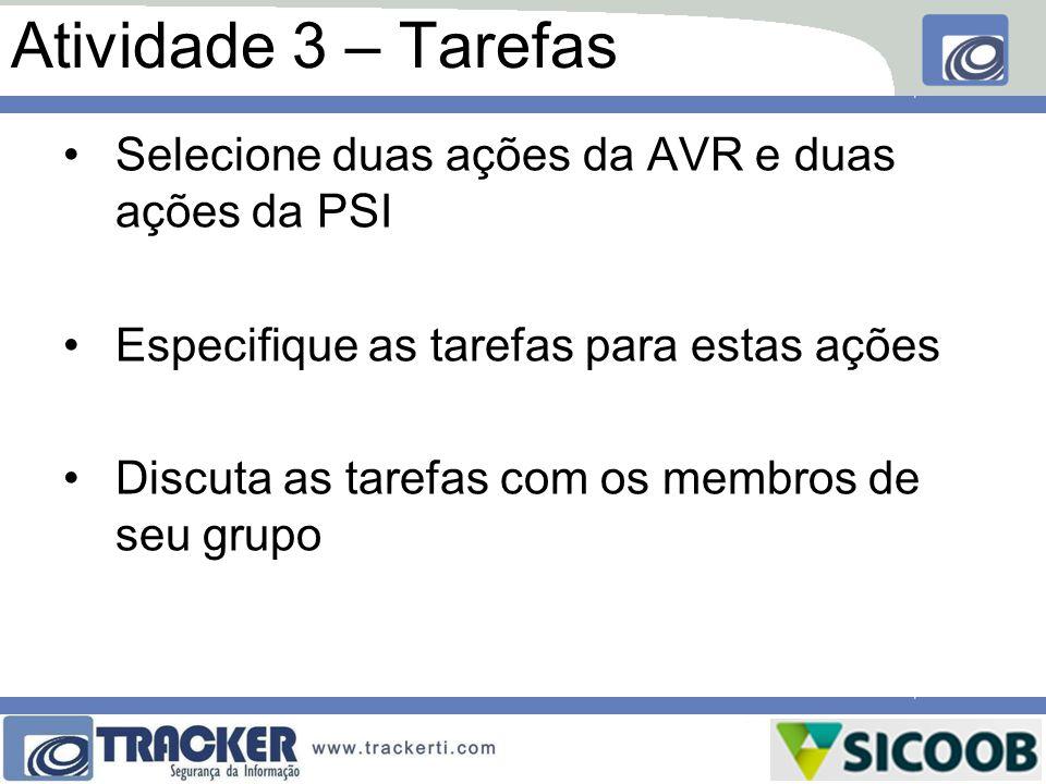 Atividade 3 – Tarefas Selecione duas ações da AVR e duas ações da PSI Especifique as tarefas para estas ações Discuta as tarefas com os membros de seu