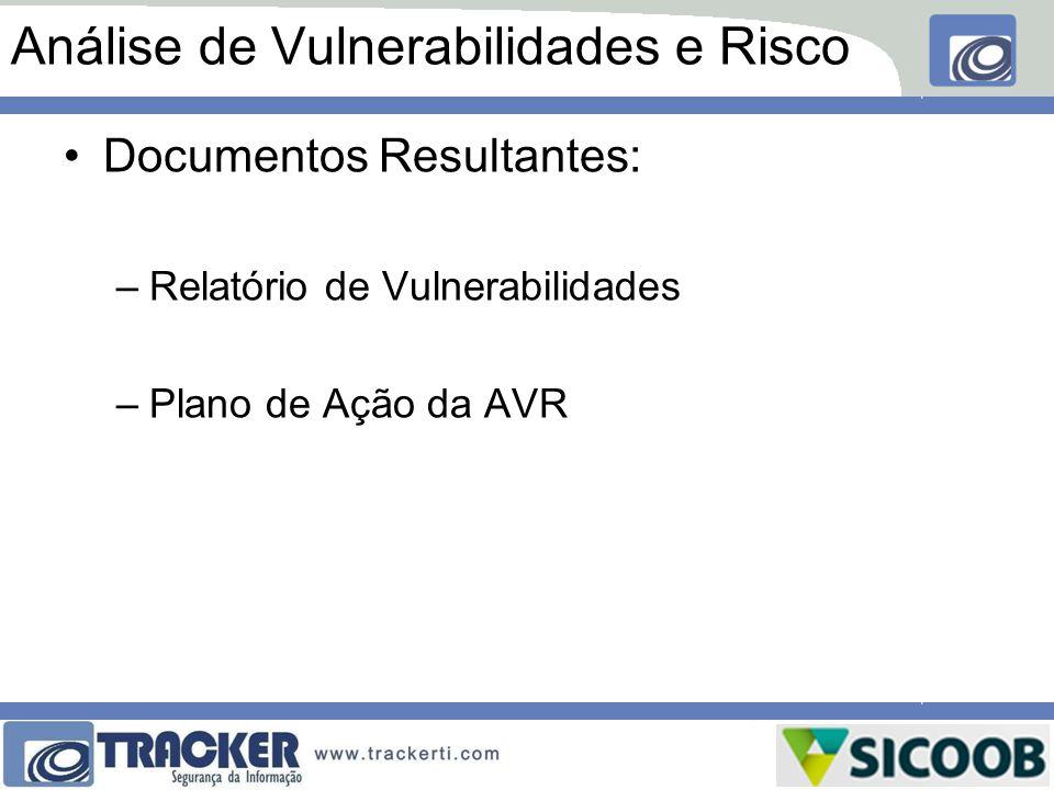Análise de Vulnerabilidades e Risco Documentos Resultantes: –Relatório de Vulnerabilidades –Plano de Ação da AVR