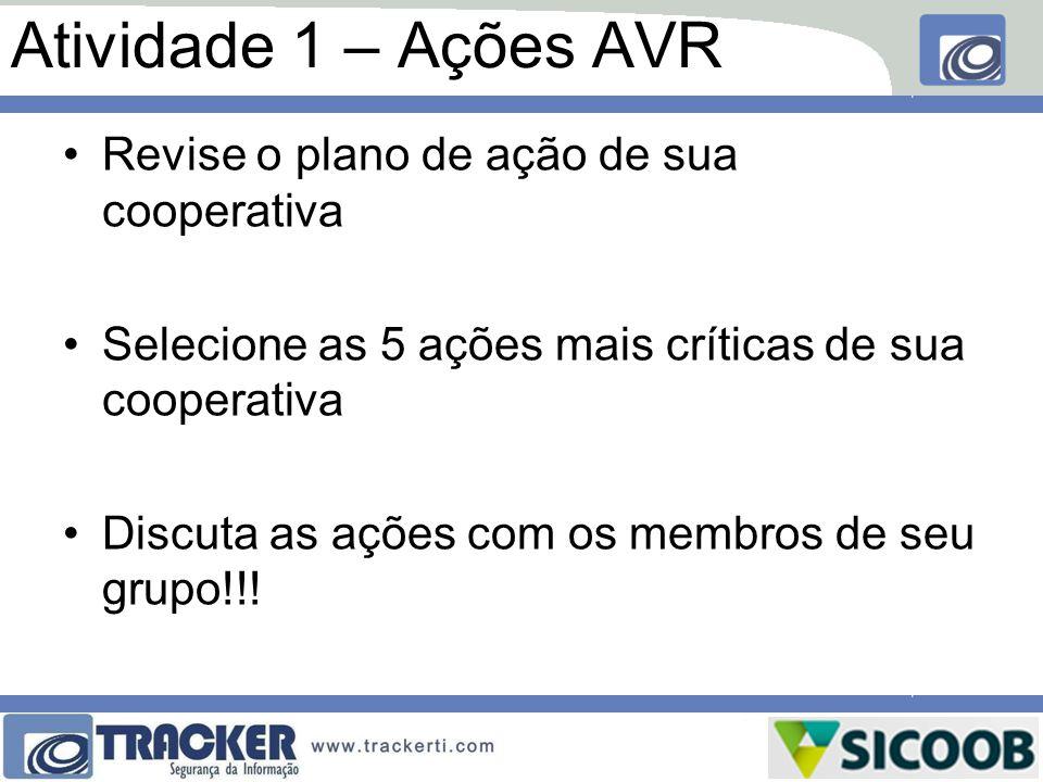 Atividade 1 – Ações AVR Revise o plano de ação de sua cooperativa Selecione as 5 ações mais críticas de sua cooperativa Discuta as ações com os membro
