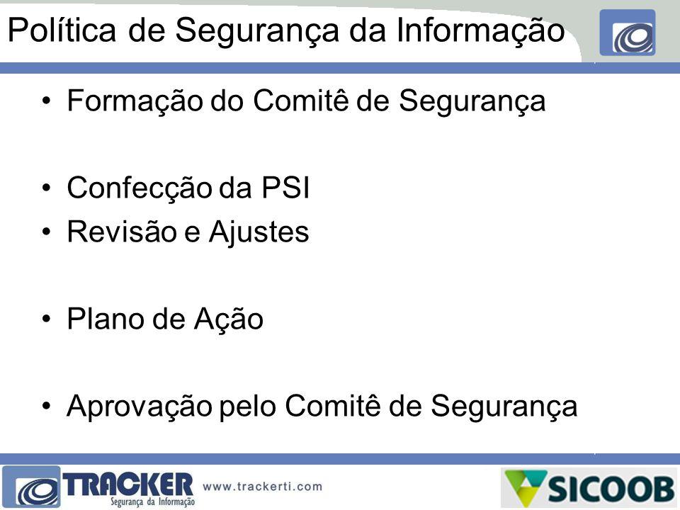 Política de Segurança da Informação Formação do Comitê de Segurança Confecção da PSI Revisão e Ajustes Plano de Ação Aprovação pelo Comitê de Seguranç