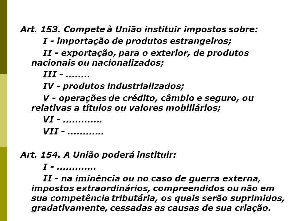 Art. 153. Compete à União instituir impostos sobre: I - importação de produtos estrangeiros; II - exportação, para o exterior, de produtos nacionais o
