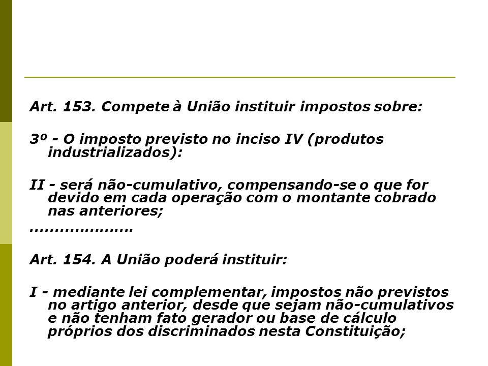Art. 153. Compete à União instituir impostos sobre: 3º - O imposto previsto no inciso IV (produtos industrializados): II - será não-cumulativo, compen