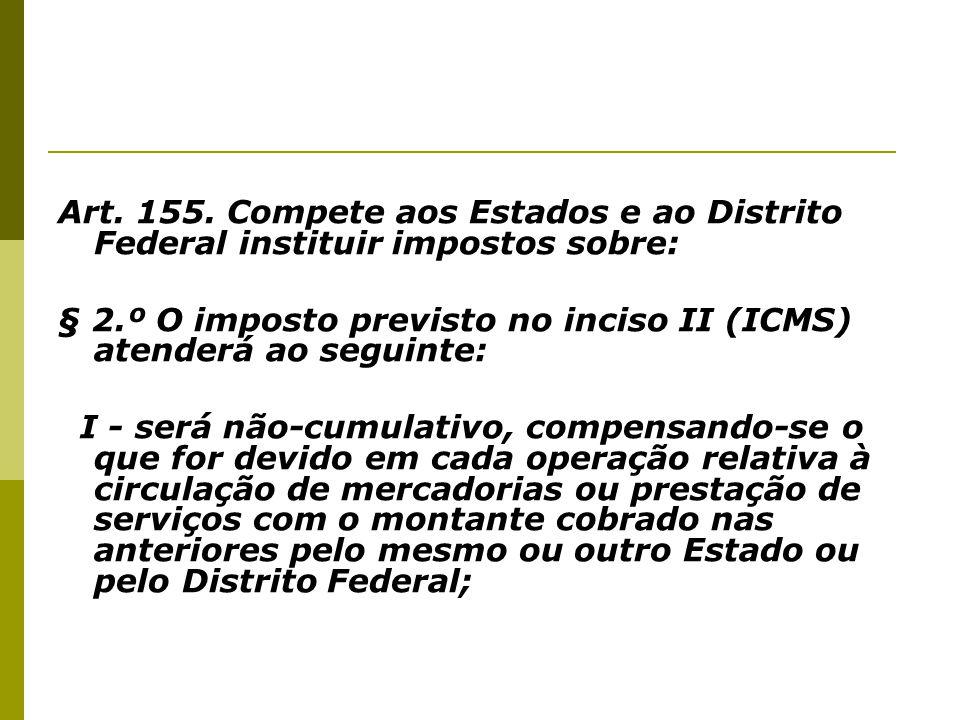 Art. 155. Compete aos Estados e ao Distrito Federal instituir impostos sobre: § 2.º O imposto previsto no inciso II (ICMS) atenderá ao seguinte: I - s