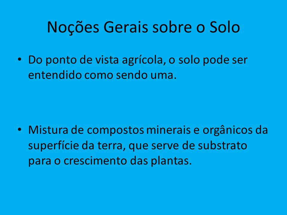 Noções Gerais sobre o Solo Do ponto de vista agrícola, o solo pode ser entendido como sendo uma. Mistura de compostos minerais e orgânicos da superfíc
