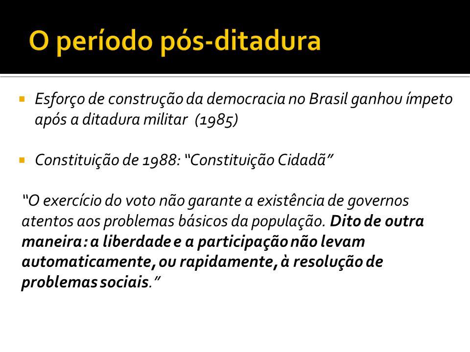 """ Esforço de construção da democracia no Brasil ganhou ímpeto após a ditadura militar (1985)  Constituição de 1988: """"Constituição Cidadã"""" """"O exercíci"""