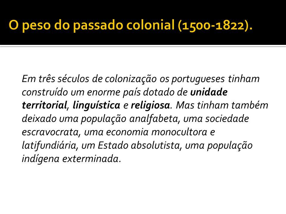  A escravidão foi o fator mais negativo para a cidadania:  Na época da Independência (1822), o Estado, os funcionários públicos, as ordens religiosas, todos eram proprietários de escravos.