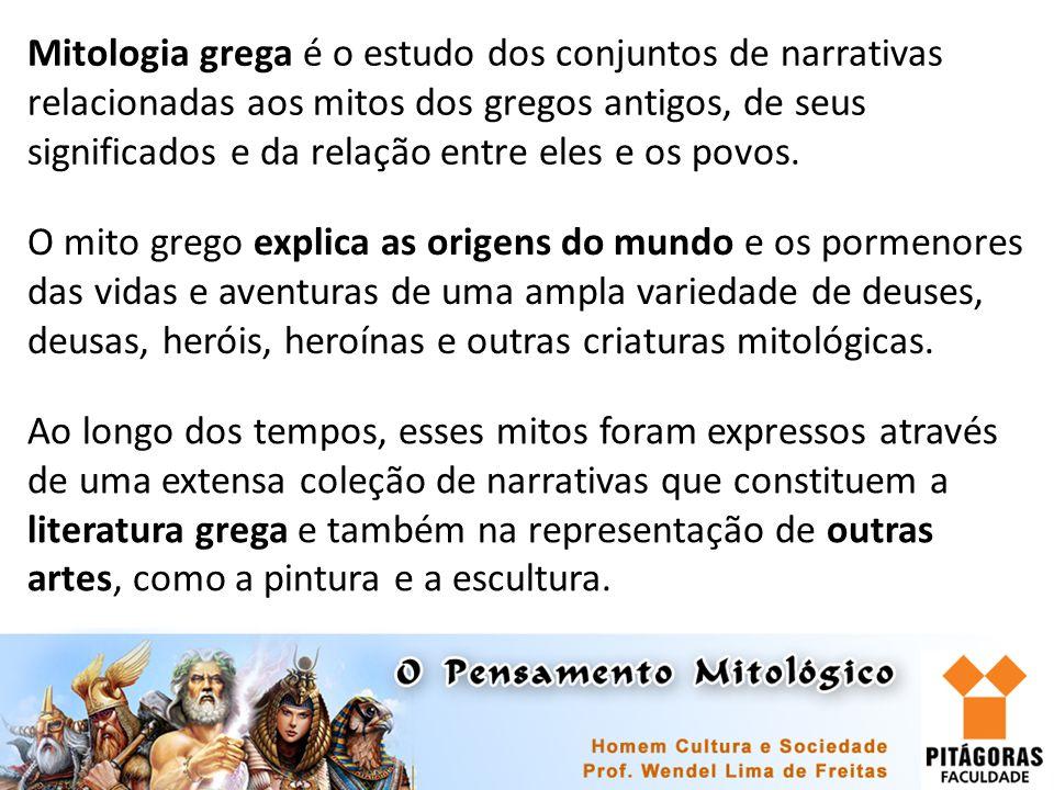 Mitologia grega é o estudo dos conjuntos de narrativas relacionadas aos mitos dos gregos antigos, de seus significados e da relação entre eles e os po