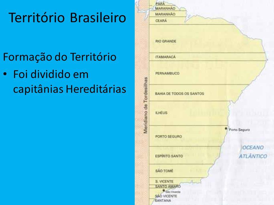 Território Brasileiro Formação do Território Foi dividido em capitânias Hereditárias