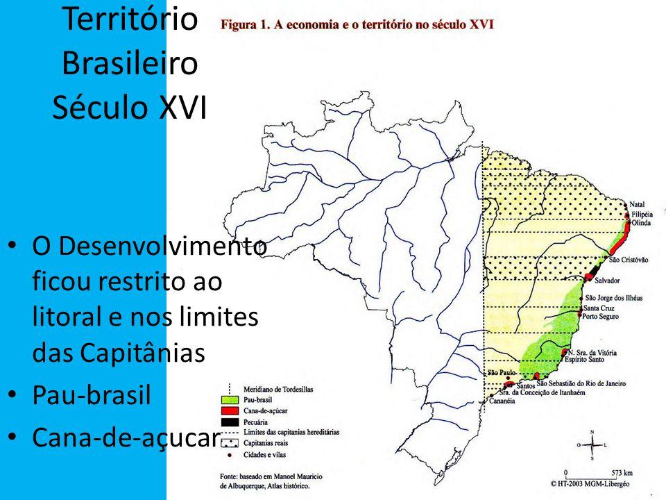 Território Brasileiro Século XVI O Desenvolvimento ficou restrito ao litoral e nos limites das Capitânias Pau-brasil Cana-de-açucar