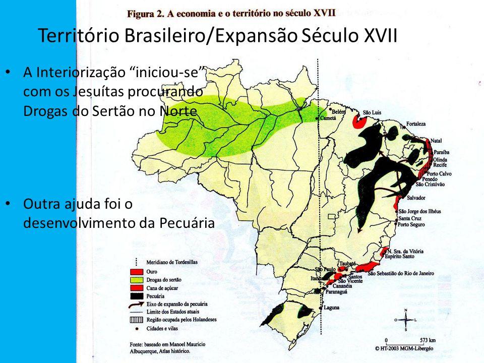 """Território Brasileiro/Expansão Século XVII A Interiorização """"iniciou-se"""" com os Jesuítas procurando Drogas do Sertão no Norte Outra ajuda foi o desenv"""