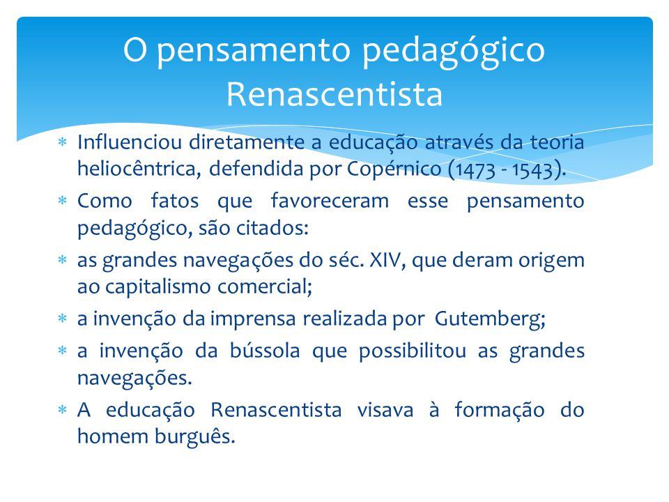  Influenciou diretamente a educação através da teoria heliocêntrica, defendida por Copérnico (1473 - 1543).  Como fatos que favoreceram esse pensame