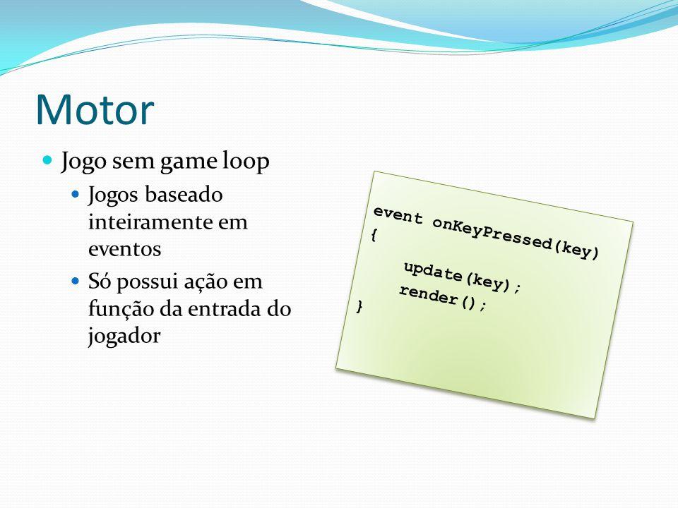 Motor Jogo sem game loop Jogos baseado inteiramente em eventos Só possui ação em função da entrada do jogador event onKeyPressed(key) { update(key); render(); } event onKeyPressed(key) { update(key); render(); }
