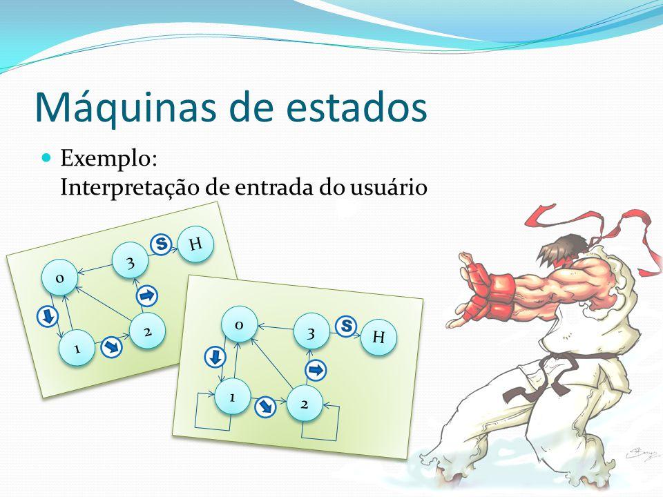Máquinas de estados Exemplo: Interpretação de entrada do usuário 0 0 3 3 1 1 2 2 H H S 0 0 3 3 1 1 2 2 H H S