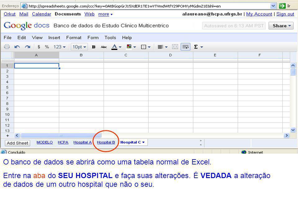 O banco de dados se abrirá como uma tabela normal de Excel. Entre na aba do SEU HOSPITAL e faça suas alterações. É VEDADA a alteração de dados de um o