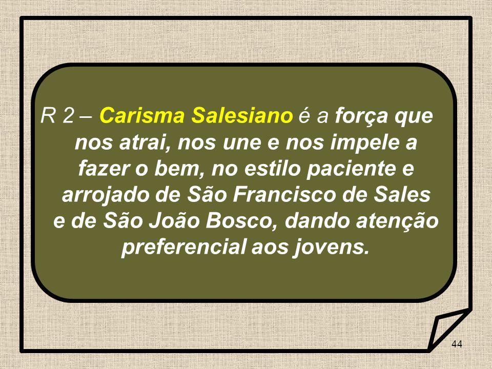 44 R 2 – Carisma Salesiano é a força que nos atrai, nos une e nos impele a fazer o bem, no estilo paciente e arrojado de São Francisco de Sales e de S